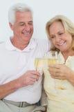 Жизнерадостные старшие пары провозглашать каннелюры шампанского Стоковое Изображение RF
