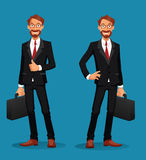 Жизнерадостный бизнесмен держа портфель с большими пальцами руки вверх Стоковое Фото