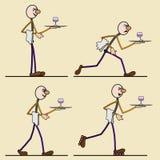 Жизнерадостный кельнер спешит к клиенту Стоковые Фото