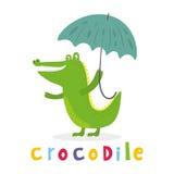 Жизнерадостный крокодил с зонтиком Printable шаблоны Стоковые Фотографии RF