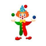 Жизнерадостный клоун жонглирует шариками Стоковая Фотография