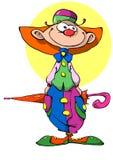 Жизнерадостный клоун с зонтиком Стоковые Фото