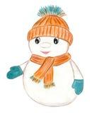 Жизнерадостный снеговик в одеждах Стоковые Изображения RF