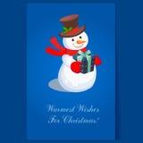 Жизнерадостный снеговик держа настоящий момент Вектор праздника Стоковые Изображения