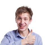 Жизнерадостный человек показывая как, жест большого пальца руки-вверх Стоковое Фото
