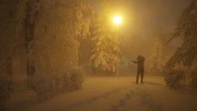 Жизнерадостный человек танцует в парке зимы на ноче сток-видео