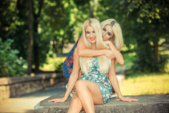 2 жизнерадостных белокурых подруги Стоковая Фотография