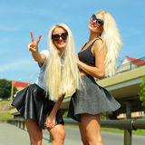 2 жизнерадостных блондинкы Стоковые Изображения RF
