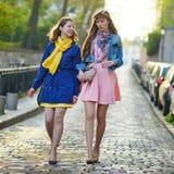 2 жизнерадостных девушки в Париже Стоковое Изображение RF