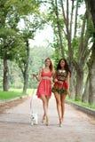2 жизнерадостных девушки в улице Стоковое фото RF