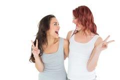 2 жизнерадостных женских друз показывать знак мира Стоковая Фотография