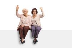 2 жизнерадостных зрелых женщины сидя на панели и развевать Стоковые Изображения RF