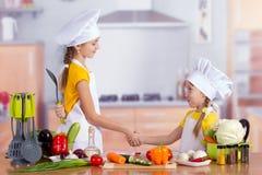 2 жизнерадостных маленьких шеф-повара трясут руки Стоковая Фотография