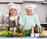 2 жизнерадостных счастливых девушки варя овощной суп Стоковое Изображение RF