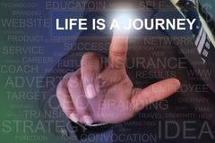 Жизнь бизнесмена касающая кнопка путешествием на виртуальном экране Стоковые Фотографии RF