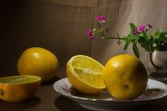 1 жизнь все еще Апельсины и цветок в стекле Стоковые Изображения RF
