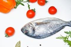 1 жизнь все еще Питание Овощи и рыбы Стоковые Изображения