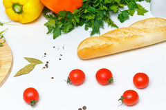 1 жизнь все еще Питание Хлеб и томат Стоковое Изображение