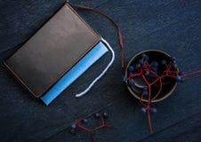 1 жизнь все еще тетрадь, книга, пуки одичалых виноградин Конец-вверх Взгляд сверху Стоковые Фотографии RF