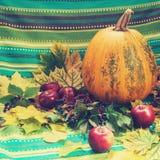 1 жизнь все еще Яблоко тыквы и одичалые виноградины Стоковые Фотографии RF