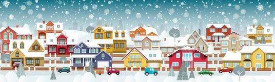 Жизнь в пригородах (зимний день) бесплатная иллюстрация