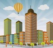 Жизнь города в перспективе иллюстрация штока