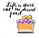 Жизнь знака краткость ест десерт во-первых, с изображением sweetcake вектор бесплатная иллюстрация