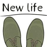 Жизнь концепции дела новая Ноги в ботинках на дороге выбор делает вектор бесплатная иллюстрация