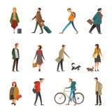 Жизнь людей ежедневная внешняя в вскользь одеждах vector плоские значки характера бесплатная иллюстрация