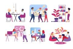 Жизнь людей офиса изолированная на белой предпосылке бесплатная иллюстрация