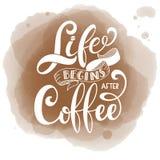 Жизнь начинает после кофе иллюстрация штока