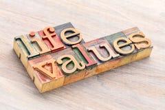 Жизнь оценивает конспект слова в деревянном типе стоковые изображения