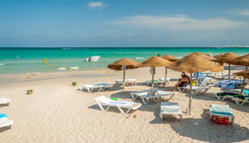 Жизнь пляжа в Mahdia Стоковое фото RF