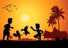 Жизнь страны, бой крана игры людей на земле дома, традиции бесплатная иллюстрация