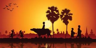 Жизнь страны whi буйвола езды лошади банана игры детей Азии иллюстрация вектора