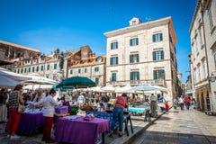 Жизнь улицы Дубровника, Хорватия Стоковые Фото