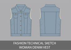 Жилет джинсовой ткани женщины эскиза моды технический иллюстрация вектора