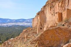 Жилища скалы Пуэбло Pojoaque Стоковая Фотография