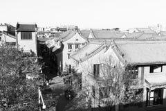Жилое снабжение жилищем в древнем городе xian, черно-белом изображении Стоковое фото RF