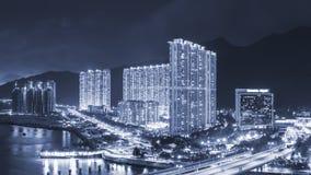 Жилой район в городе Гонконга на ноче Стоковая Фотография