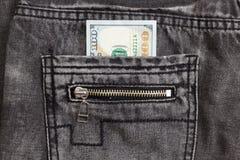 100 джинсов карманн задней части внутренности долларовой банкноты Стоковая Фотография RF