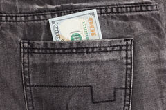 100 джинсов карманн задней части внутренности долларовой банкноты Стоковые Изображения