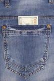 100 джинсов карманн задней части внутренности долларовой банкноты Стоковые Фото