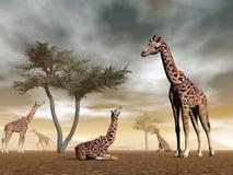 Жирафы в саванне - 3D представляют бесплатная иллюстрация