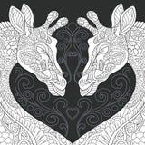 Жирафы в черно-белом стиле иллюстрация штока