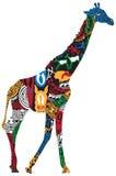 Жираф в африканских этнических картинах Стоковое Изображение RF