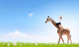Жираф езды женщины Стоковая Фотография