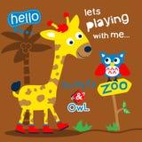 Жираф и сыч в мультфильме зоопарка смешном животном, иллюстрация вектора стоковая фотография rf