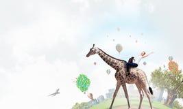 Жираф седловины девушки Мультимедиа Стоковые Изображения