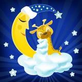Жираф Bab спать на облаке иллюстрация штока